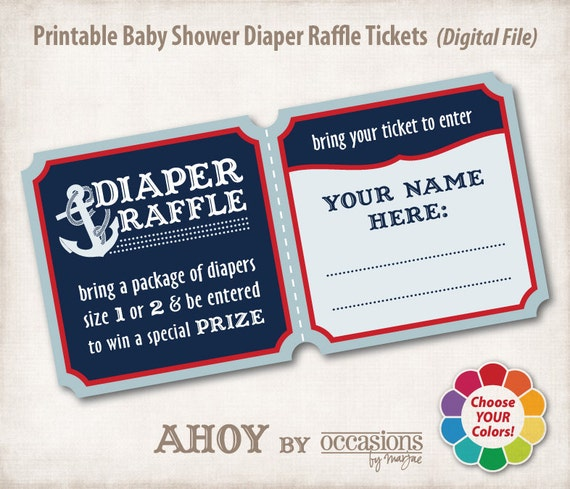 Baby Shower Diaper Raffle Tickets, Digital File, Ahoy, Nautical Theme