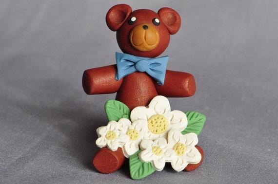 Daisy Teddy Bear polymer clay miniature