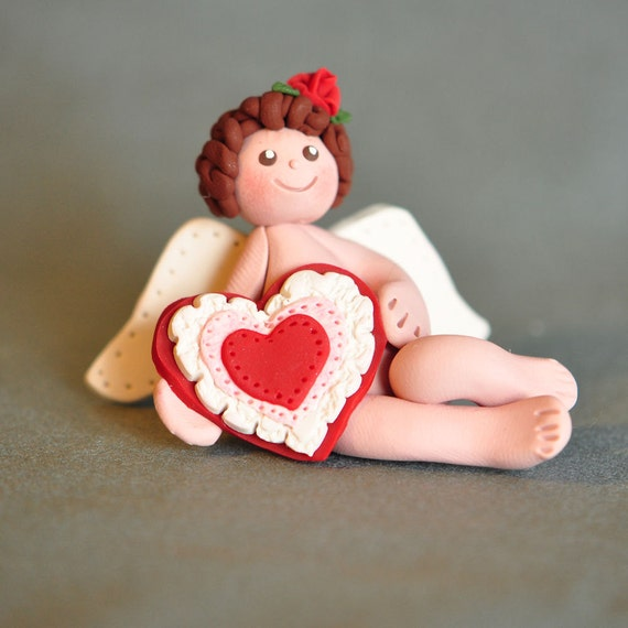Clay Cupid with Valentine Heart