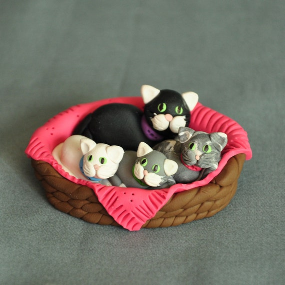 Polymer Clay Mama Cat and Kittens in a Basket Figurine