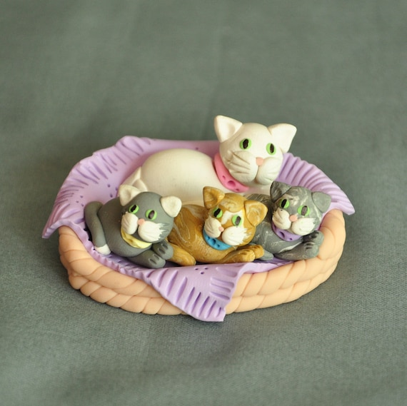 Polymer Clay Miniature Figurine Mama Cat and Kittens in a Basket
