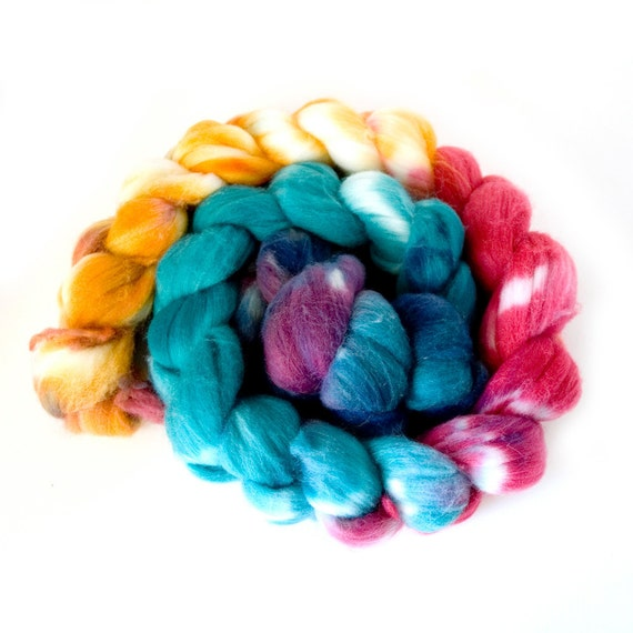 """Hand-dyed Combed Top (Roving) Spinning Faux, Fake, Vegan Cashmere Fiber- """"Wild Ride"""" 3.875 ounces"""