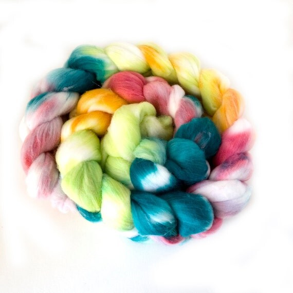 "Hand-dyed Combed Top (Roving) Spinning Faux, Fake, Vegan Cashmere Fiber- ""Garden Party"" 4 ounces"