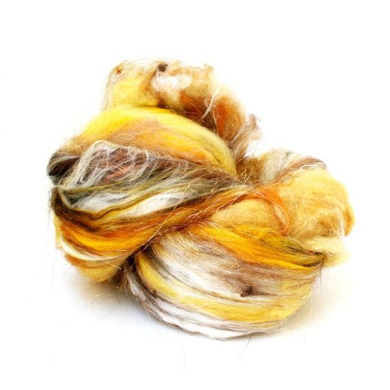 "Fiber Batt, Art Batt, Fiber Art Batt for Spinning or Felting- ""Banana Spit"" 4.375 ounces"