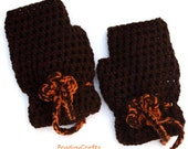 Hand-made crocheted fingerless mittens with crochet flower, coffee brown