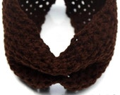 Crocheted Wide Brown Headband, coffee brown