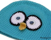 Crocheted Blue-jay Hat with googly eyes