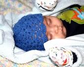 Crochet Dark Blue Hat for Newborns