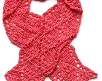 Crocheted corral scarf, hand-made, one of a kind