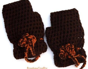 Hand-made crocheted fingerless mittens with crochet flower, coffee brown