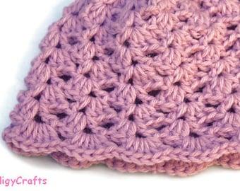 Crochet Lilac Hat for Newborn Baby Girls
