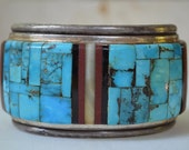 SALE - Signed Navajo Pavé Turquoise Cuff