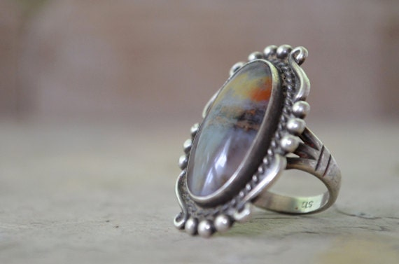 Vintage American Indian Sterling Picture Agate Ring Size 5 3/4