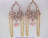 Gold Chandelier Egyptian style Earrings, Crystals, dangly, pink, hook earrings, rhinestone