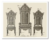 Antique Gothic Chairs Drawing - Vintage Art Print 1849 - 8x10