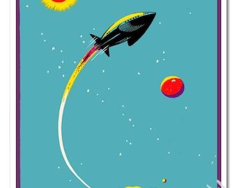 Spaceship Sun Moon and Stars - 16x20 Poster Art Print