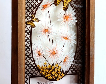 Butterflies and Daisies Shadow Box Allegory - Vintage Proverb on Flower painted glass