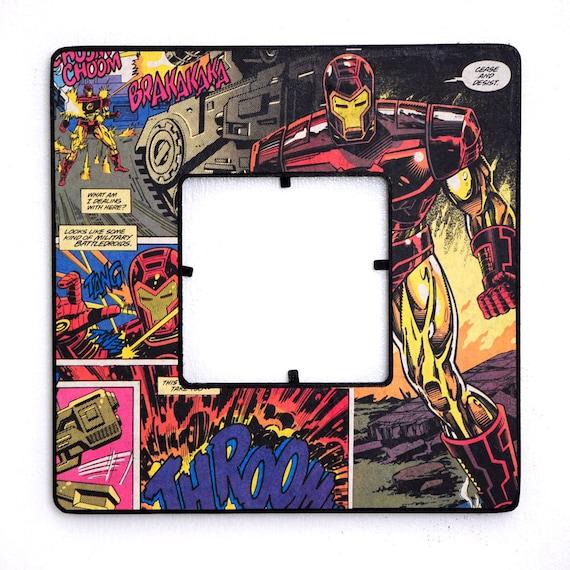 Iron Man Decoupaged Avengers Frame - Vintage Comic Book Art - Tony Stark