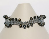 Beadwoven Seed Bead Bracelet In Ceylon Gray And Matte Silver Stone Tones