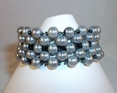 Bead Woven Cuff Bracelet With Gray Glass Pearls