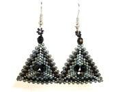 Black and Gray Beadwork Earrings, Grey, Triangle Earrings, Glass Beaded Earrings, Women's Seed Bead Jewlery, Dangle Earrings, Gift for Her