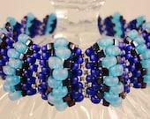 Blue Beaded Bracelet, Royal Blue, Aqua Blue, and Midnight Blue, Striped Cuff Bracelet, Seed Bead Woven Bracelet, Women's Beadwork Jewelry,