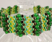 Green Beaded Bracelet Olive, Emerald Green, and Bronze Seed Bead Woven Bracelet, St Patricks Day, Striped, Beadwork Jewelry, Cuff Bracelet