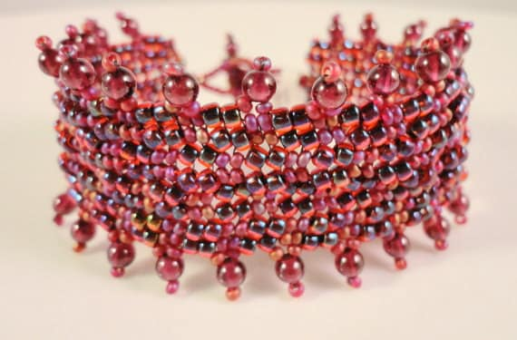 Beaded Garnet Bracelet Woven with Gemstones and Glass Seed Beads in Red Garnet and Ruby Red