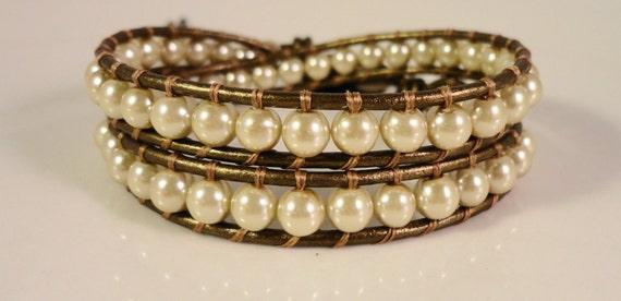 Beaded Leather Wrap Bracelet, Beige Pearl Bracelet, Chan Luu Style, Double Wrap Bracelet, Boho Bracelet, Adjustable Size