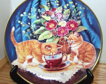 """Collectible """"Tea For Two"""" Wall Decor Plate of Kitties by K Duncan a Franklin Mint Heirloom Recommendation"""