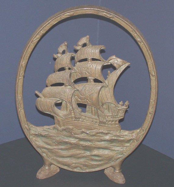 Antique Cast Iron Pirate Ship Fireplace Screen