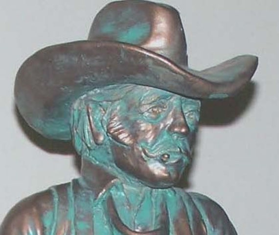 Peter Aspit Bronze Cowboy with Saddle Sculpture by Cheyenne Originals USA