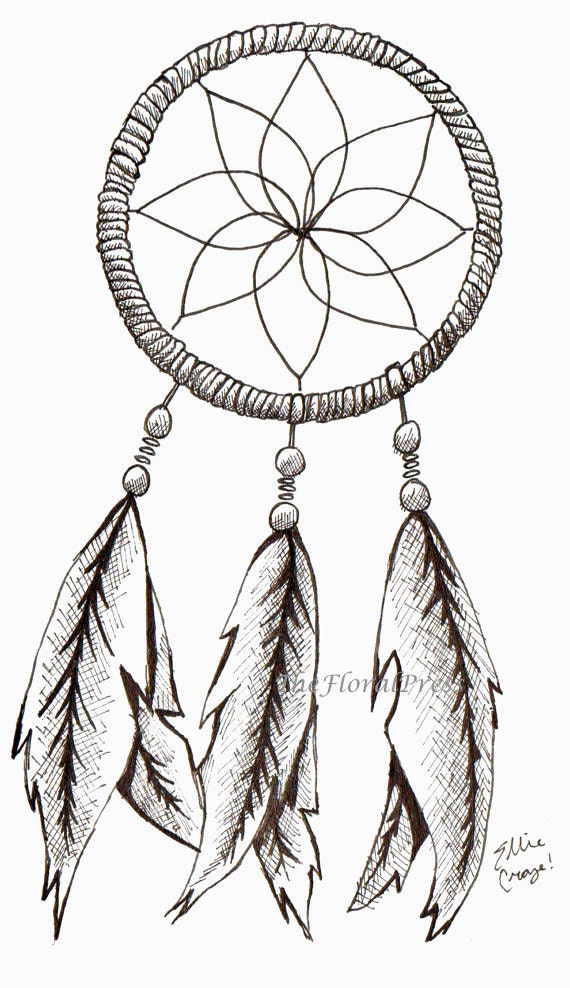 Items similar to dream catcher ink drawing 8 5 x 11 for Dream catcher drawing easy