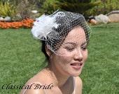 "Mini 901 -- VEIL SET w/ OSTRICH Feather Fascinator Hair Clip & Ivory or White Birdcage Blusher 6"" Veil for bridal wedding"