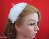 802 FEATHER FASCINATOR HAIRCLIP In Ivory or White for wedding bridal birdcage blusher veil