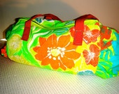 Neon Yellow Floral Duffle Bag Large GLOWS in the Dark