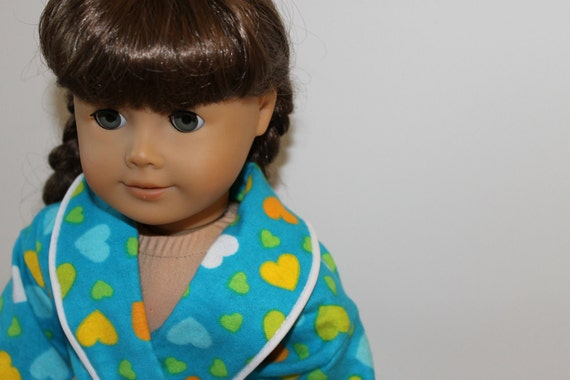 SALE: Heart Print Flannel Robe for American Girl or Other 18 Inch Dolls
