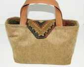 Southwestern Medium Handbag in soft chenille upholstery fabric
