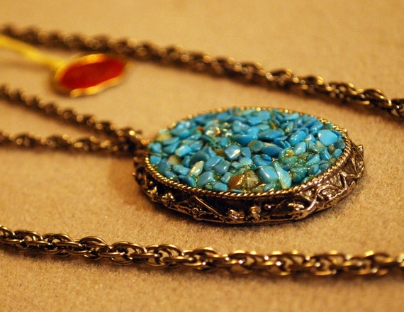 Vintage Turquoise Silvertone Dual Chain Necklace
