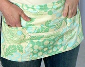 Lotsa Pockets Apron, Waitress Apron, Vendor Half Apron with zipper pocket  - Green Poppies (Amy Butler fabric), made-to-order in 2 sizes