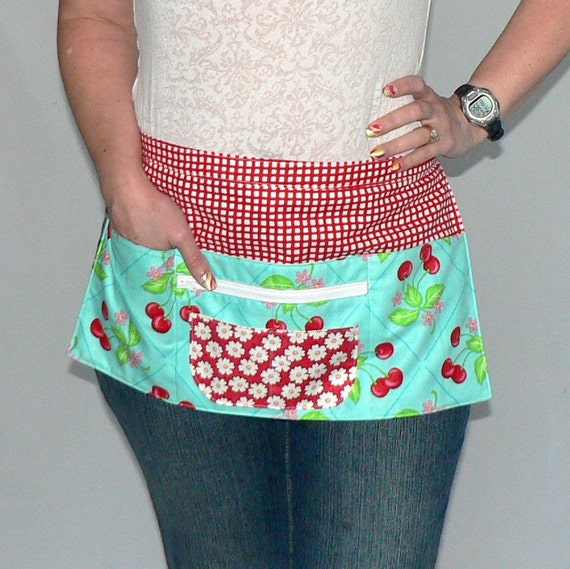 6 Pocket Zipper Apron- for vendors, crafting, or the classroom  - Oh Cherry  (last one)