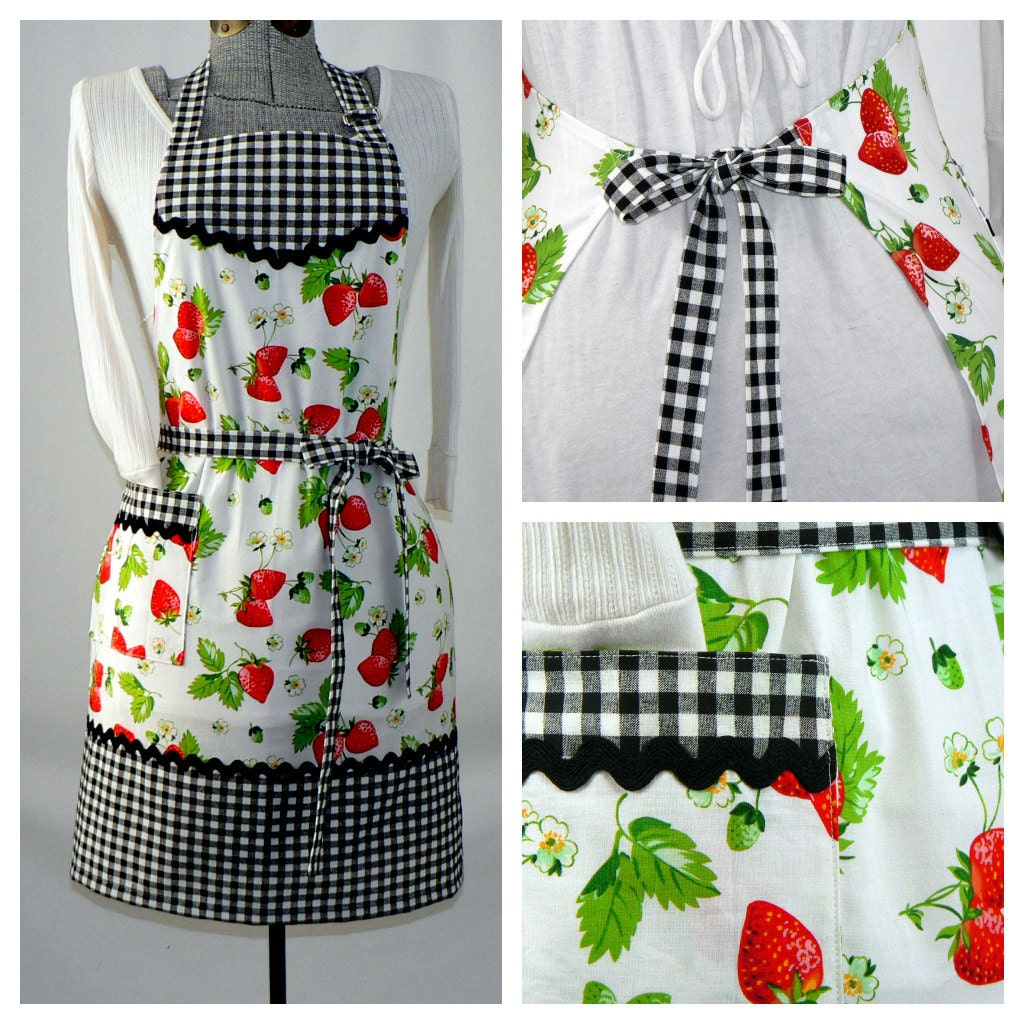 Retro Kitchen Aprons: Women's Full Retro Kitchen Apron Chef's Apron By