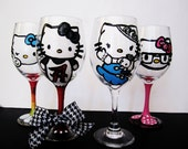 Collect them all - hello kitty Wine Glasses - set of 4 - Hand painted