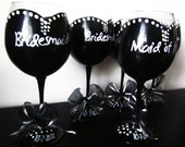 Audrey Bridal Party Collection - Set of 5 - Bridesmaids - Bridal Party - Weddings - hand painted wedding wine glasses