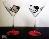 Hello kitty - Martini Glass set - hand painted - red base - xoxo - 2 martini glasses