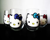 hello kitty stemless wine set - 4 hand painted wine glasses - different color bows