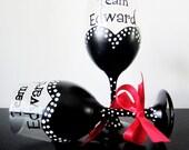 Team Edward - twilight - set of 2 wine glass - Breaking Dawn - red ribbon