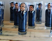 Groomsmen ( 9 glasses) Custom Hand Painted Wedding Glassware  - 9 pilsner glasses