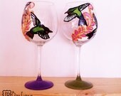 humming Bird wine glasses ( 2 glasses ) purple and green - 20 oz large glasses