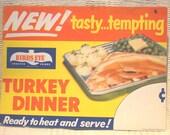 Ad Card Promotional Lithograph Rare B/E Sales Birds Eye TV Turkey Dinner SALE
